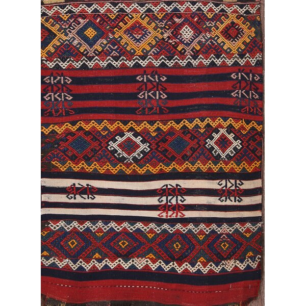 Summer Kazak Traditional Caucasian Russian Oriental Hand-Knotted Wool Red/Burgundy Area Rug by Bloomsbury Market