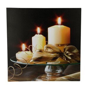 '3 LED Lighted Candle Scene' Photographic Print on Canvas by The Holiday Aisle