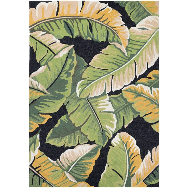Amberjack Rainforest Forest Hand-Woven Green/Black Indoor/Outdoor Area Rug by Bay Isle Home