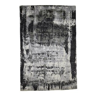 One-of-a-Kind Barros Hand-Knotted 6'1 x 9' Wool/Silk Black/Gray Area Rug Isabelline