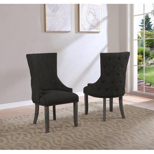 Tufted Linen Upholstered Wingback Side Chair In Dark Gray (Set Of 2) By Canora Grey