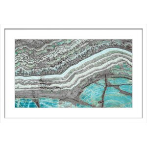 'Aqua Layers' Framed Painting Print by Marmont Hill