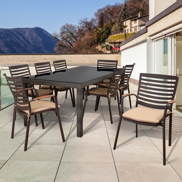 Elsmere Patio 9 Piece Dining Set with Cushions by Beachcrest Home