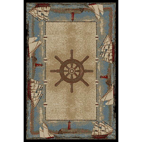 American Destinations Beige/Light Blue Area Rug by Mayberry Rug