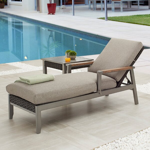 Heidlersburg Outdoor Reclining Chaise Lounge with Cushion and Table by Ebern Designs Ebern Designs