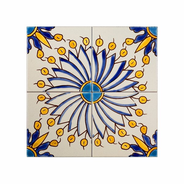 Mediterranean 4 x 4 Ceramic Sicily Blue Decorative Tile in Yellow/Blue by Casablanca Market