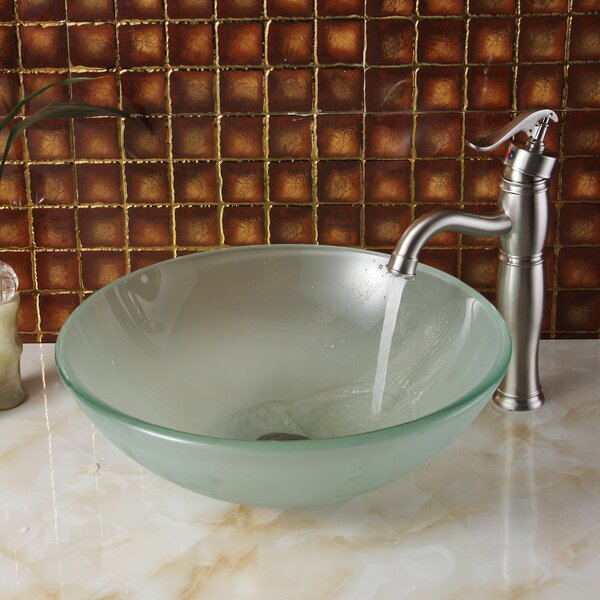 Double Layered Tempered Glass Circular Vessel Bathroom Sink by Elite
