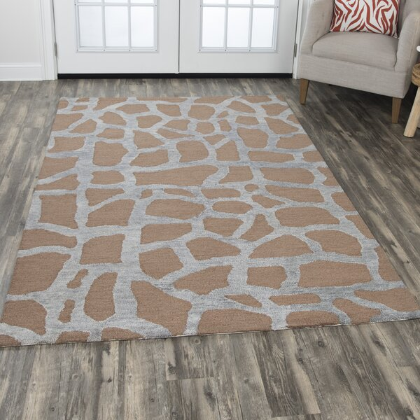 Comstock Hand-Tufted Wool Gray/Tan Area Rug by Brayden Studio