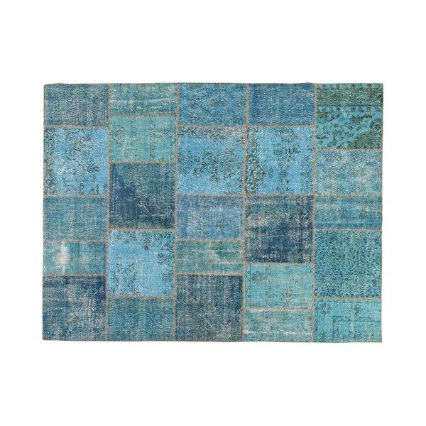 Usak Patchwork Handmade Blue Area Rug by La Viola Décor