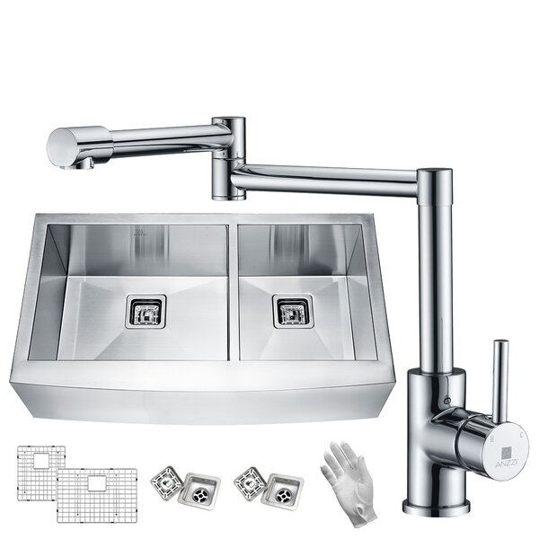 Elysian Stainless Steel 33 L x 21 W Double Basin Farmhouse Kitchen Sink with Faucet by ANZZI