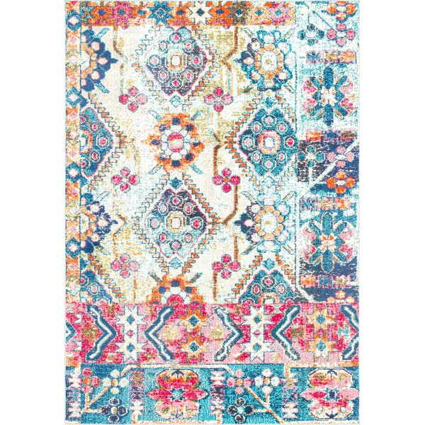 Hines Blue Area Rug by Bungalow Rose