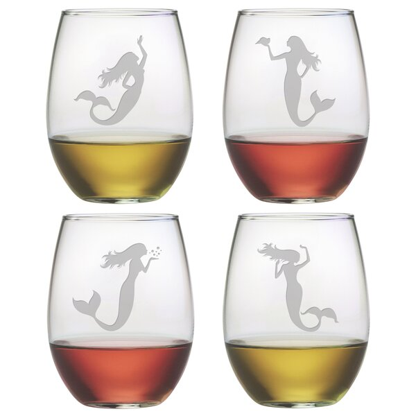 Chace Mermaids 21 oz. Stemless Wine Glass (Set of 4) by Highland Dunes