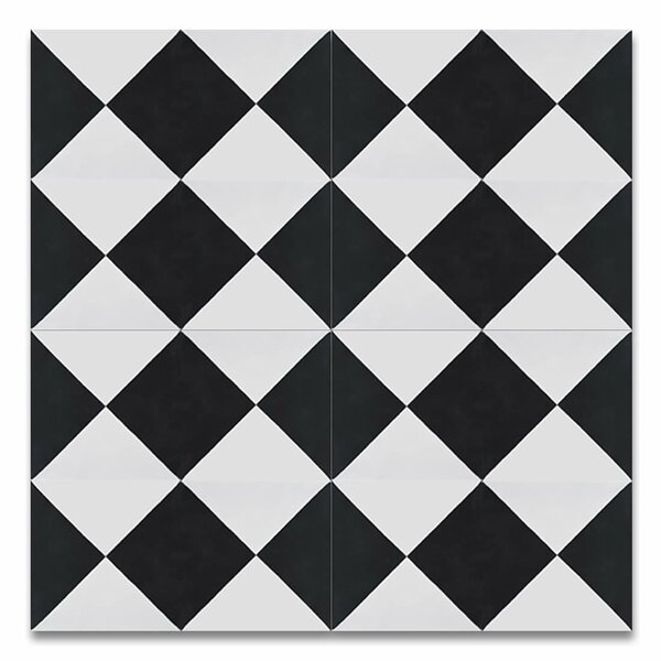 Anfa Handmade 8 x 8 Cement Field Tile in Black/White by Moroccan Mosaic