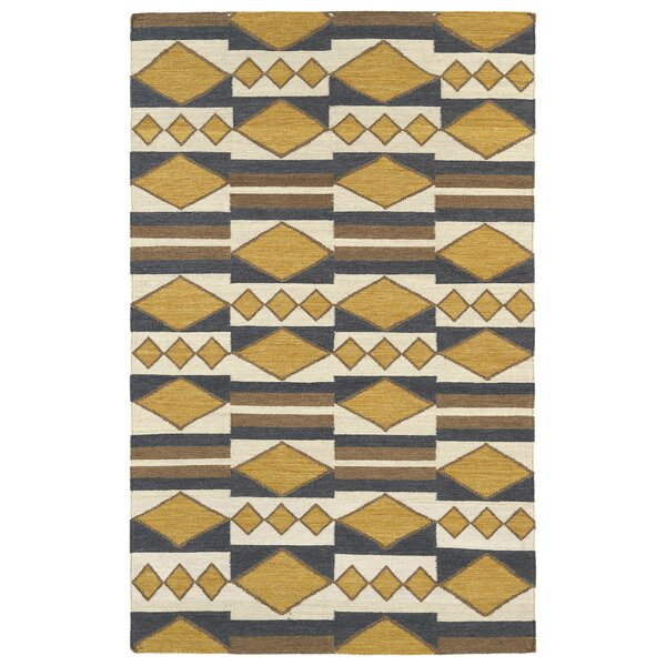 Marble Falls Gold Geometric Area Rug by Wrought Studio