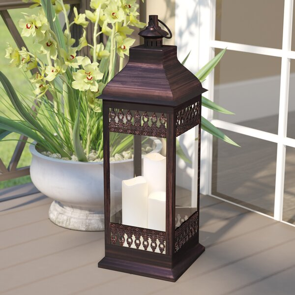 Pinckneyville Triple LED Candle Glass Lantern by Darby Home Co