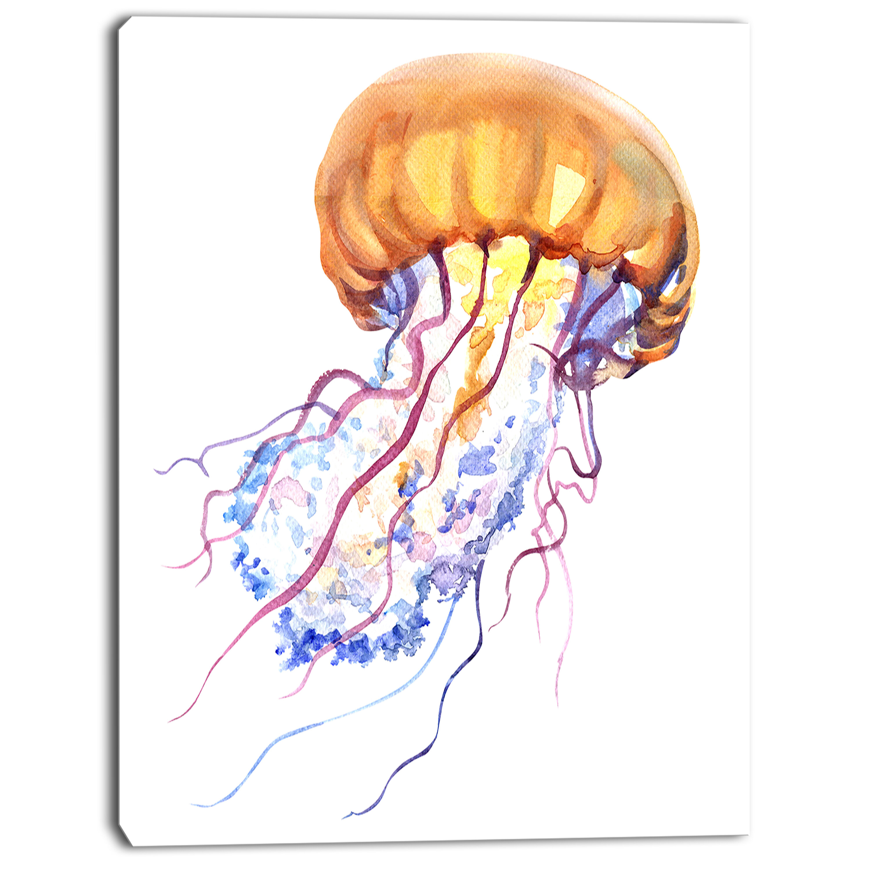 Designart Orange Ocean Water Jellyfish Painting Print On Wrapped Canvas Wayfair
