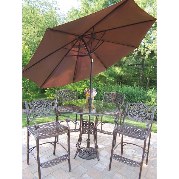 Hummingbird Mississippi 6 Piece Bar Height Dining Set with Umbrella by Oakland Living
