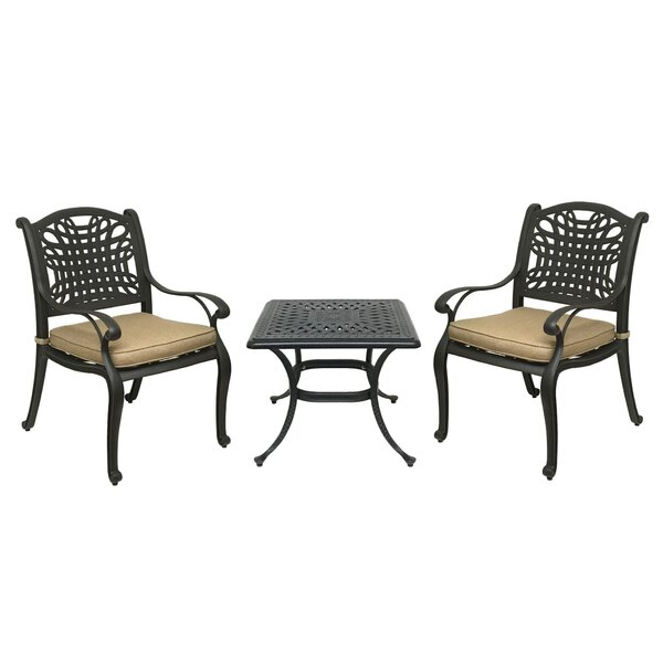 Champigny 3 Piece Bistro Set with Sunbrella Cushions