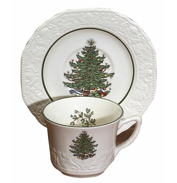 Original Christmas Tree Dickens Embossed Tea Cup and Saucer (Set of 4) by The Holiday Aisle
