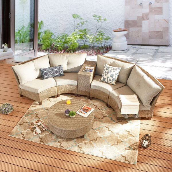 Rosabel 6 Piece Rattan Sofa Seating Group with Cushions by Highland Dunes