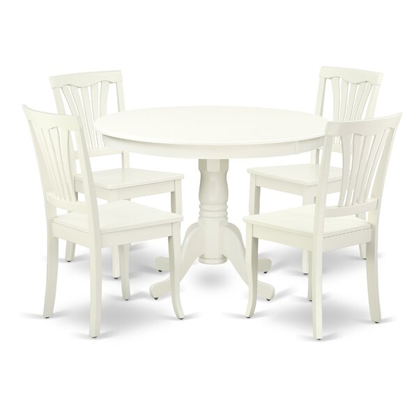 Kuehl 5 Piece Solid Wood Breakfast Nook Dining Set by August Grove
