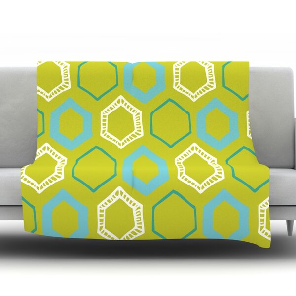 Hexy Lime by Laurie Baars Fleece Blanket by East Urban Home