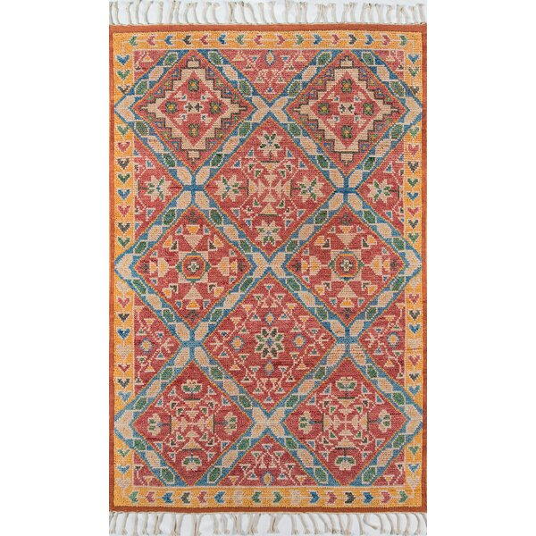 Chenoweth Hand-Knotted Wool Red/Yellow Area Rug by Bungalow Rose
