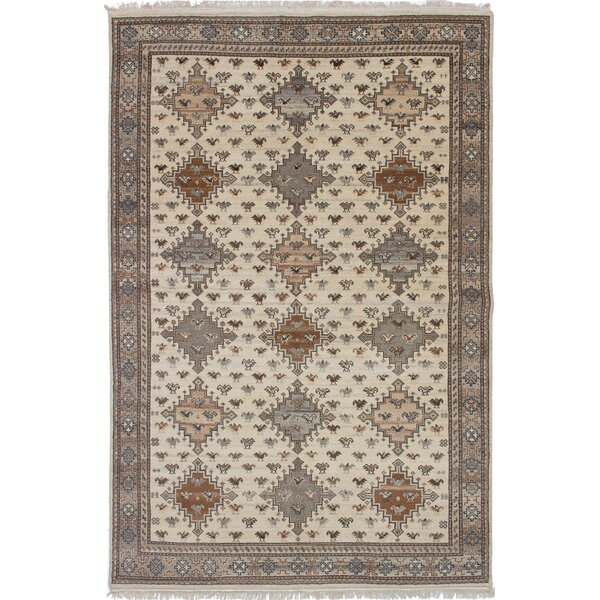 One-of-a-Kind Dominy Hand-Knotted Cream Area Rug by Isabelline