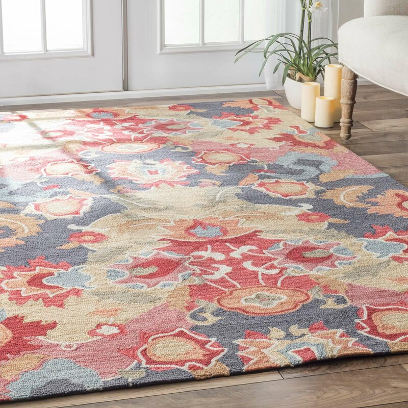 Maastricht blue red area rug reviews joss main for Red and blue area rug
