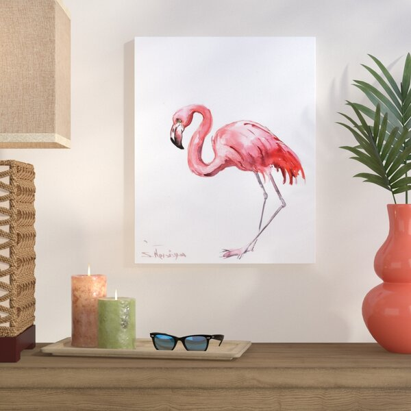 Pink Flamingo Painting Print on Gallery Wrapped Canvas by Bay Isle Home