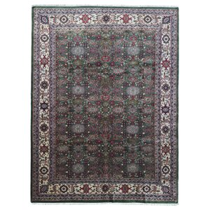 Johnstone Oriental Hand Woven Wool Green Area Rug