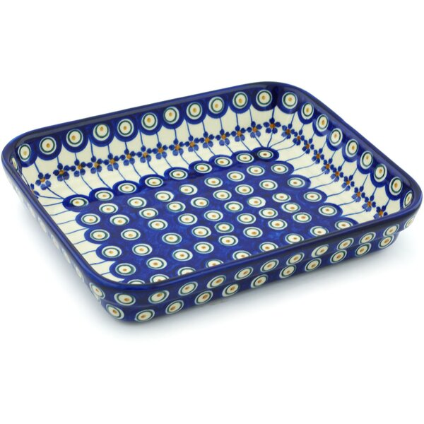 Floral Peacock Rectangular  Non-Stick Polish Pottery Baker by Polmedia