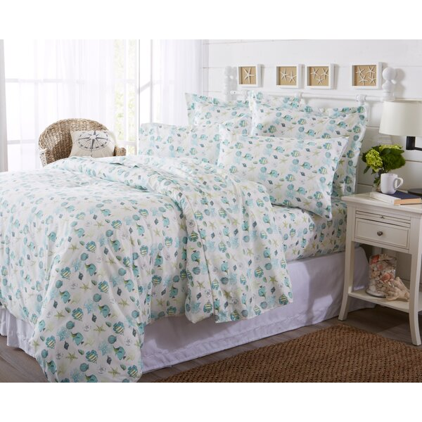 Claribel Printed Coastal Pattern Duvet Cover by Highland Dunes