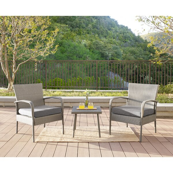 Howells 3 Piece Rattan Conversation Set with Cushions by Wrought Studio