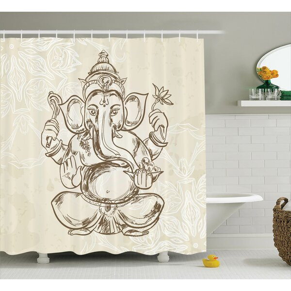 Beldin Cream Elephant God Art Shower Curtain by Bloomsbury Market