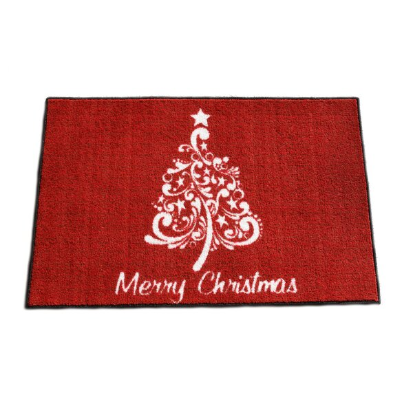 Clayton Scroll Christmas Tree Cranberry/White Area Rug by The Holiday Aisle