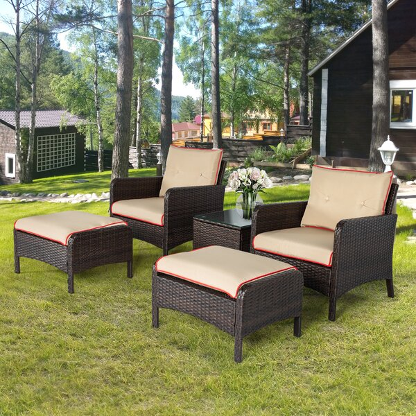 Hillock 5 Piece Rattan Sofa Seating Group with Cushions by Ebern Designs Ebern Designs