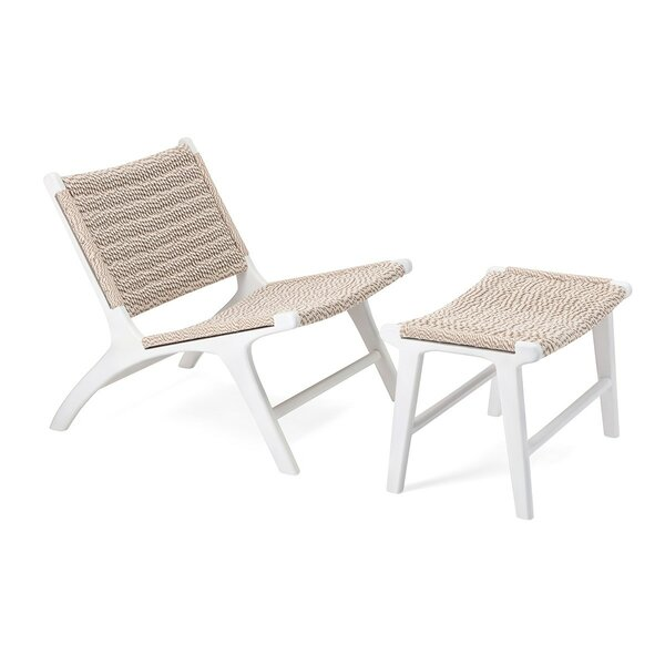 Gerhardina Woven Teak Lounge Chair and Ottoman by Highland Dunes