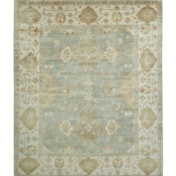 Ottoman Hand-Knotted Green/Blue Area Rug by Shalom Brothers