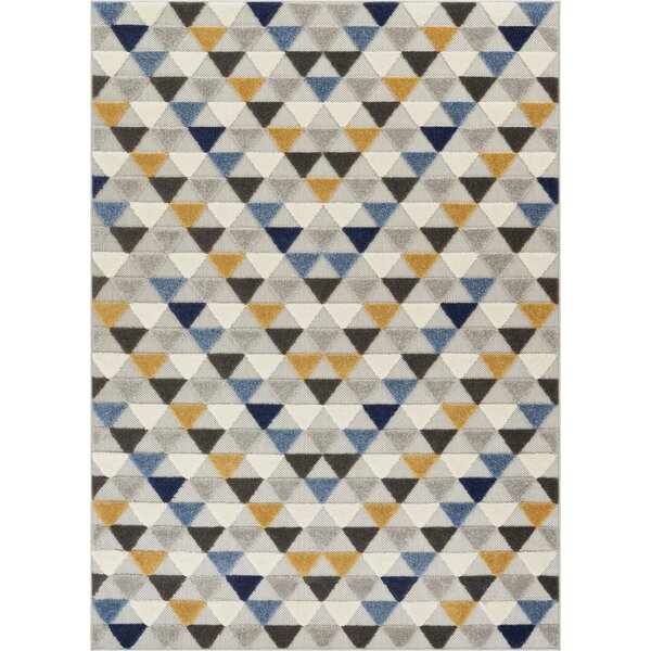 Dorado Dream Modern Geometric Triangles High-Low Blue Indoor/Outdoor Area Rug by Well Woven