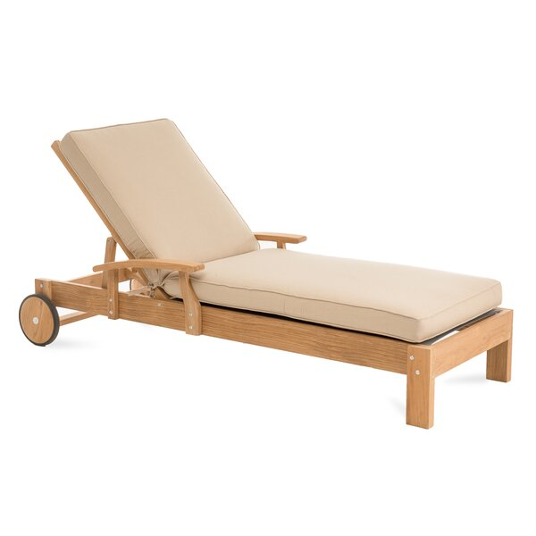 Boyle Reclining Teak Chaise Lounge with Cushion by Rosecliff Heights