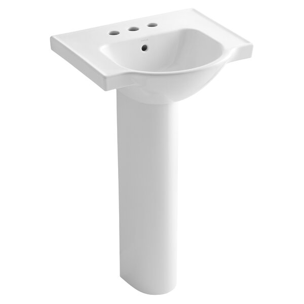 Veer Ceramic 21 Pedestal Bathroom Sink with Overfl