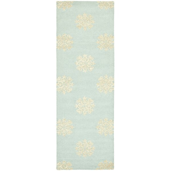 Marcello Hand-Woven Wool Light Blue/Beige Area Rug by Alcott Hill