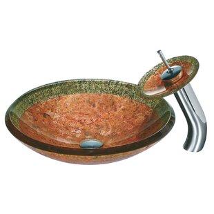 Janus Tempered Glass Circular Vessel Bathroom Sink with Faucet VIGO