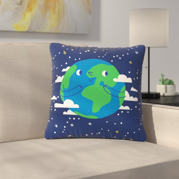Happy Earth Outdoor Throw Pillow by East Urban Home