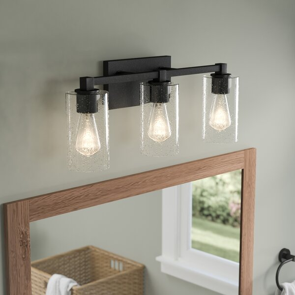 Sawyer 3 light vanity light with clear seeded glass reviews sawyer 3 light vanity light with clear seeded glass reviews joss main aloadofball Gallery