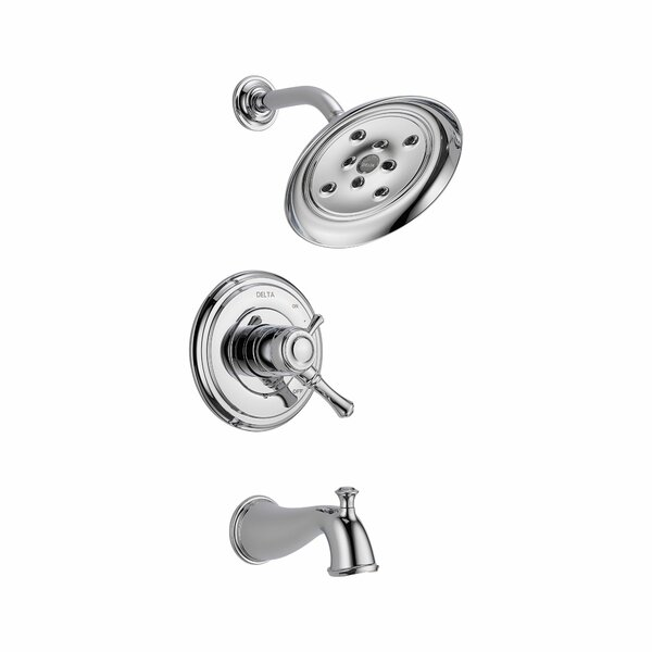 Cassidy Volume Control Tub and Shower Faucet Trim with Lever Handles and Monitor by Delta