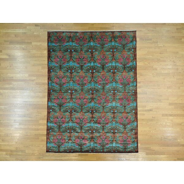 One-of-a-Kind Bogue Handwoven Green Wool Area Rug by Isabelline