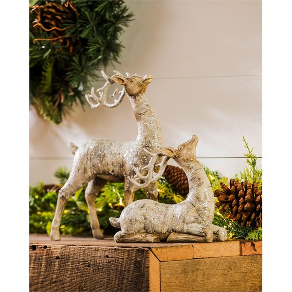 2 Piece Birch Bark Reindeer Décor Set by The Holiday Aisle