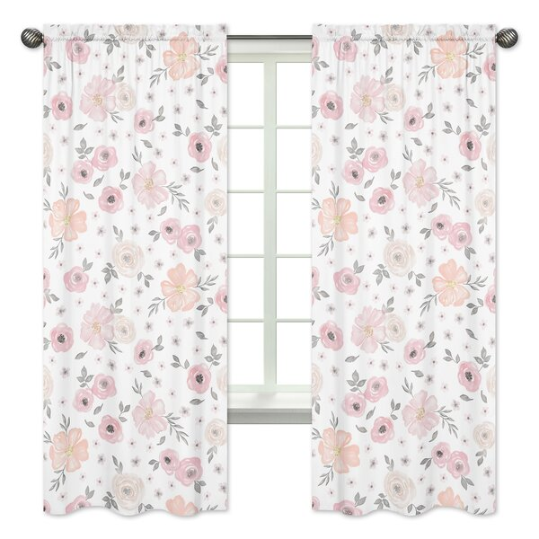 Floral Rod Pocket Window Curtain Panels (Set of 2) by Sweet Jojo Designs